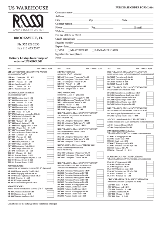 Us Warehouse Purchase Order Form 2014