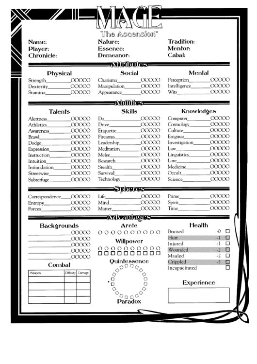 Mage The Ascension Character Sheet Printable Pdf Download