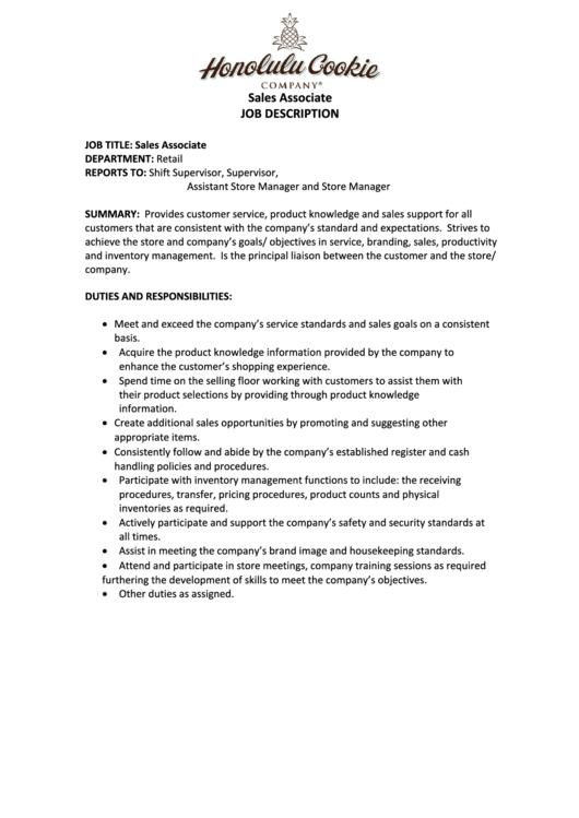 sales associate job description printable pdf download