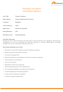 Job Description - Finance Analyst