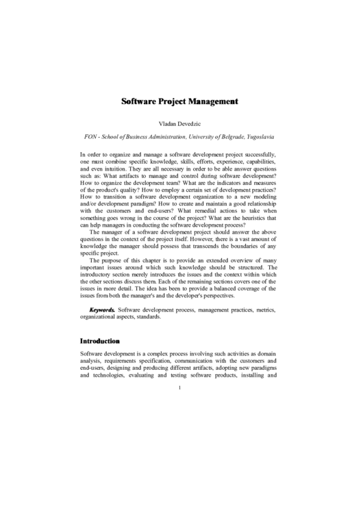 Software Project Management Brochure Template Printable pdf