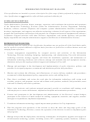 Information Technology Manager Job Description Template