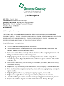 Job Description - Dietary Aide