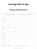 Serenity Salon & Spa Employee Application Form