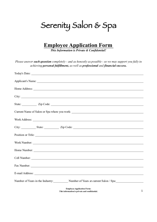 Serenity Salon & Spa Employee Application Form Printable pdf