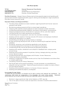 Job Description Human Resources Coordinator