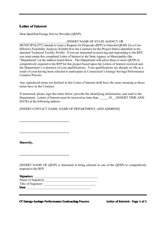 Letter Of Interest Template To Qualified Energy Service