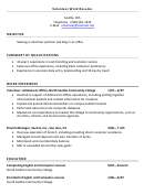 Volunteer Work Resume Example