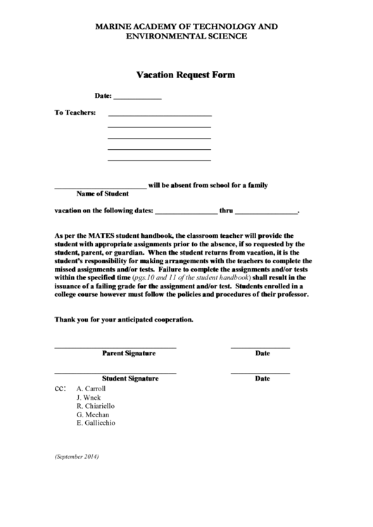 Marine Academy Of Technology And Environmental Science Vacation Request Form