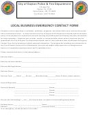 City Of Dayton Police & Fire Department Local Business Emergency Contact Form