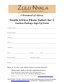 South Africa Photo Safari For 2 Auction Package Sign Up Form