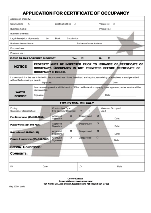 city of killeen application for certificate of occupancy