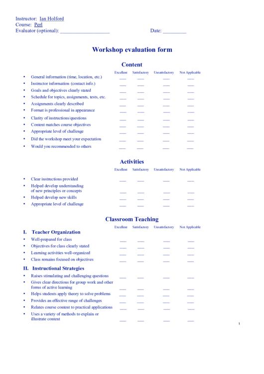 Workshop Evaluation Form printable pdf download