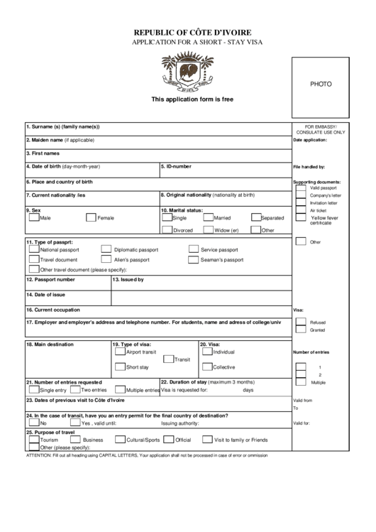 Application For A Short-Stay Visa - Republic Of Cote D ...