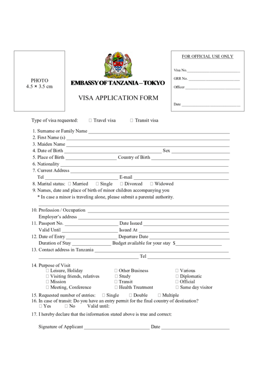 Top Tanzania Visa Application Form Templates free to download in ...