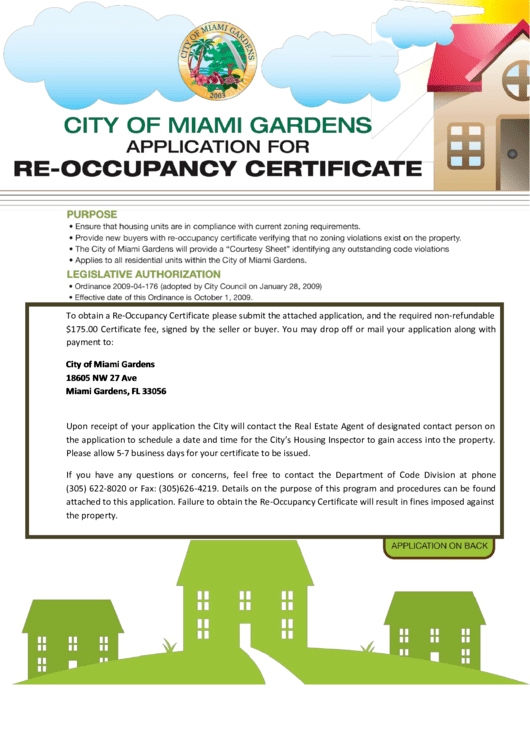 city of miami gardens application for re