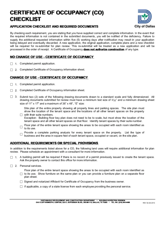 Fillable City Of Dallas Certificate Of Occupancy (co) Checklist ...