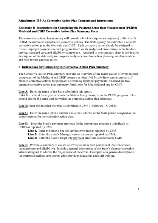 Corrective Action Plan Template And Instructions Printable pdf