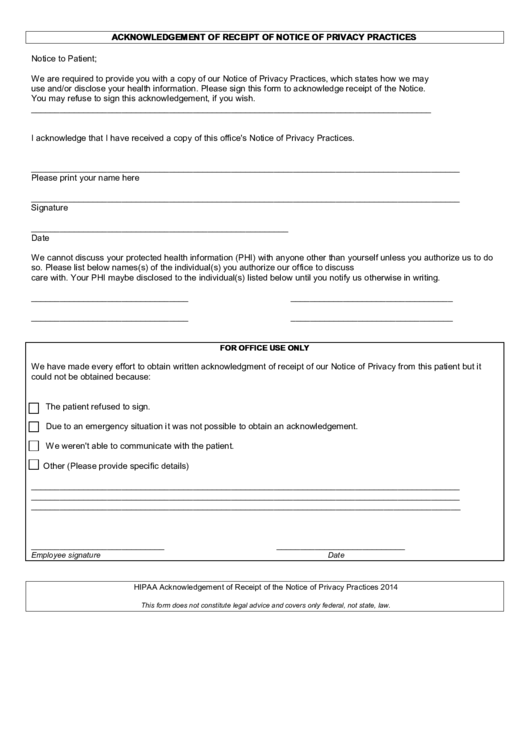 Acknowledgement Form Of Receipt Notice Privacy Practices
