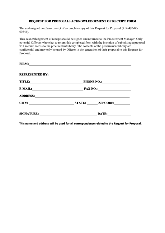 Request For Proposals Acknowledgement Of Receipt Form Printable pdf