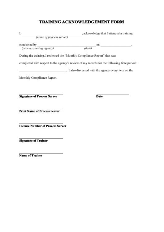 Top Training Acknowledgement Form Templates free to download in PDF