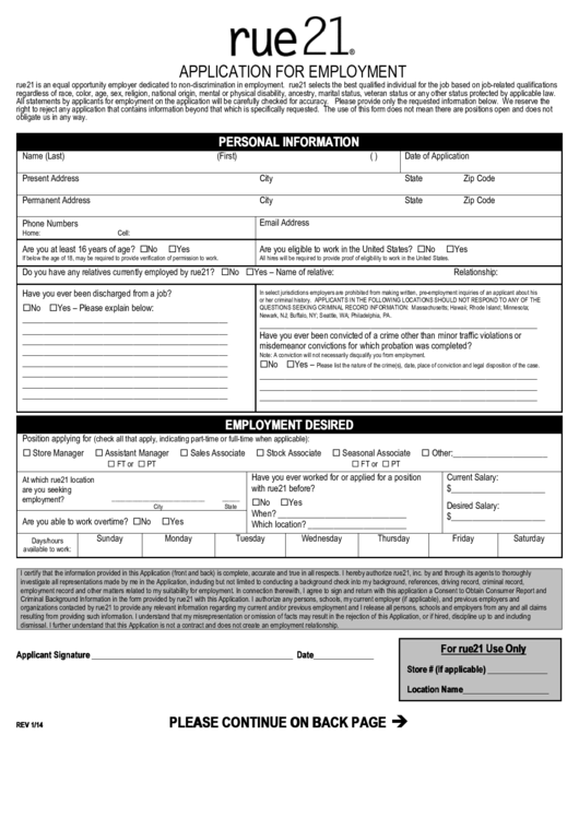 Rue21 Application Form For Employment Printable pdf