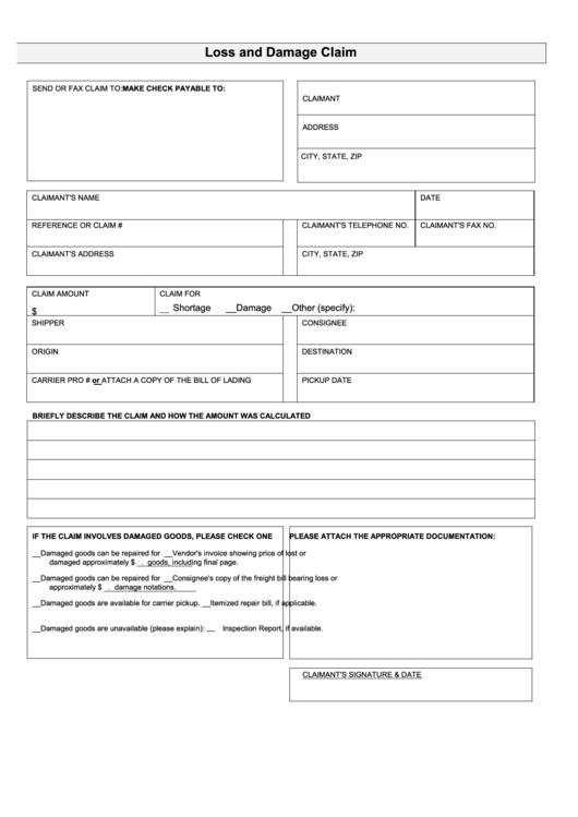 loss and damage claim form printable pdf download