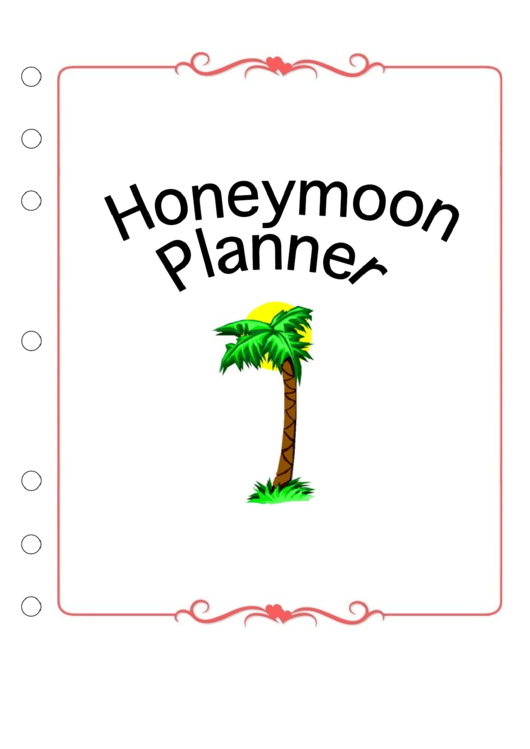 Wedding Planner Honeymoon Cover Page Template