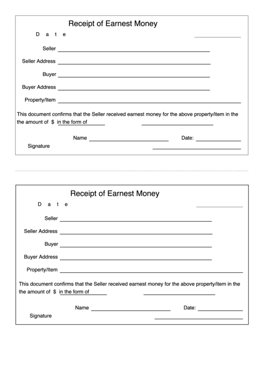 receipt of earnest money template printable pdf download