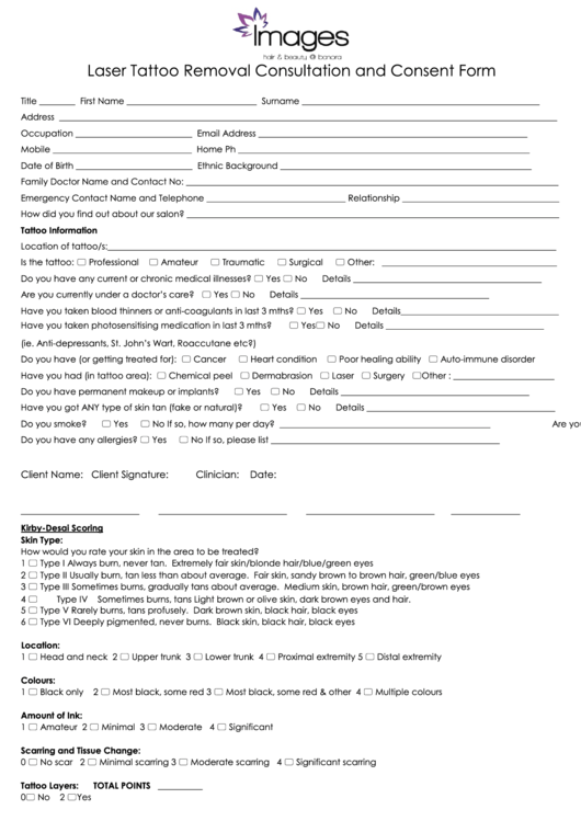 Laser tattoo removal consultation and consent form for Tattoo release form template