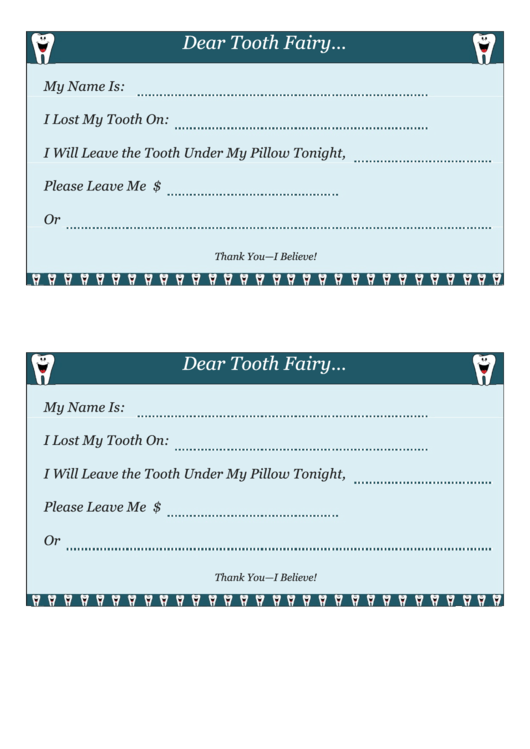 Letter To Tooth Fairy Template