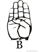 Letter B Sign Language Template
