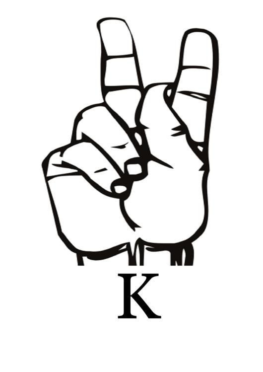 letter k sign language template printable pdf