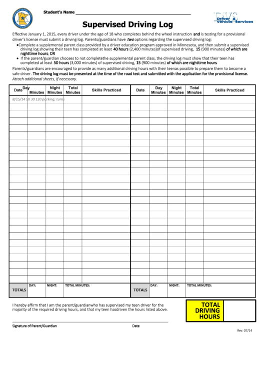 Supervised Driving Log Printable pdf