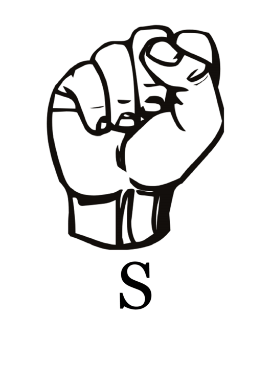 Letter S Sign Language Template