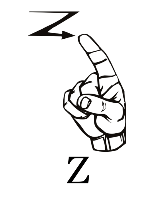 Letter Z Sign Language Template