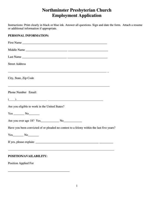 Northminster Presbyterian Church Employment Application/criminal History Background Check & Driver