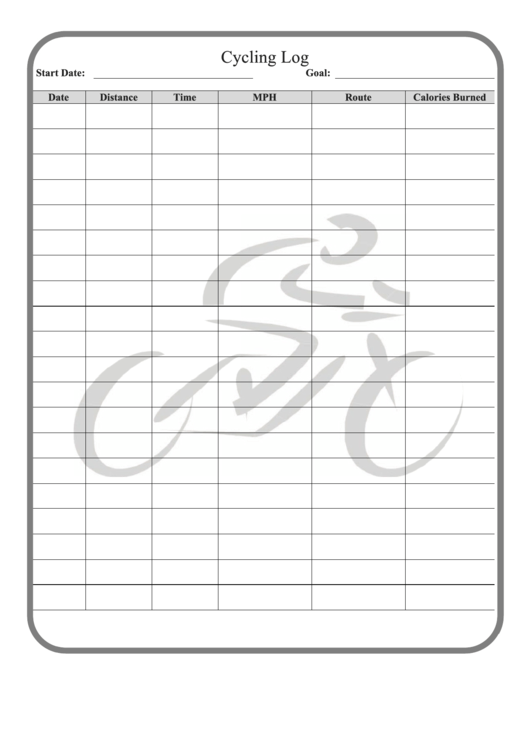 Cycling Log Template printable