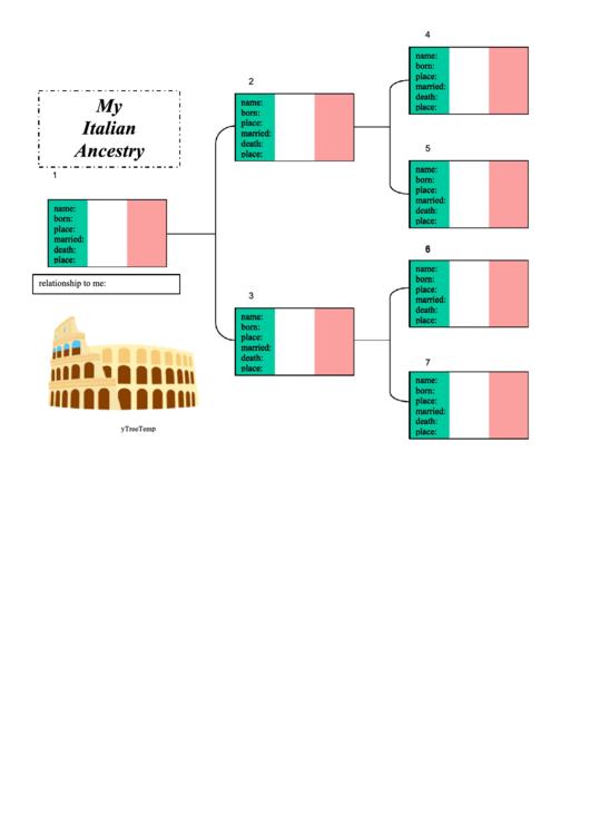 Family Tree Template - Italian Ancestry Chart Printable pdf