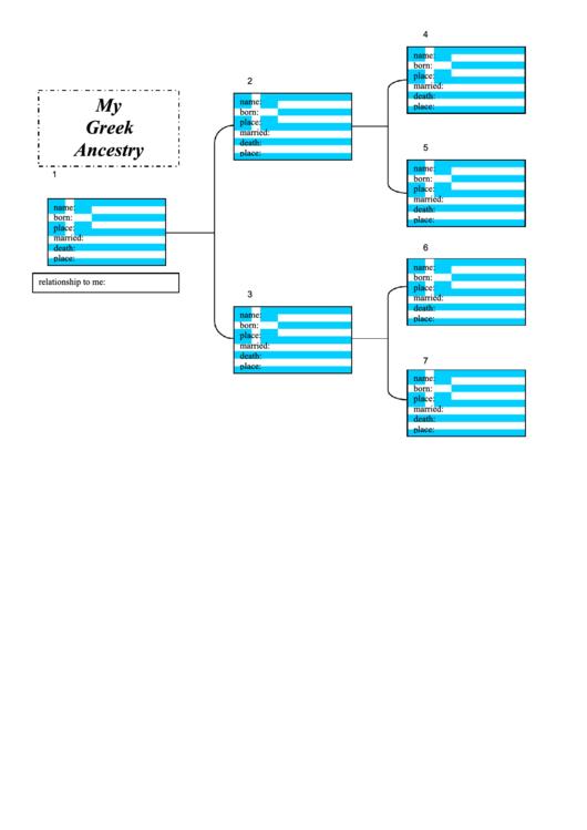 Family Tree Template - Greek Ancestry Chart Printable pdf