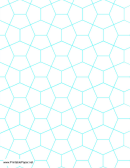 Aquamarine Hexagonal Graph Paper