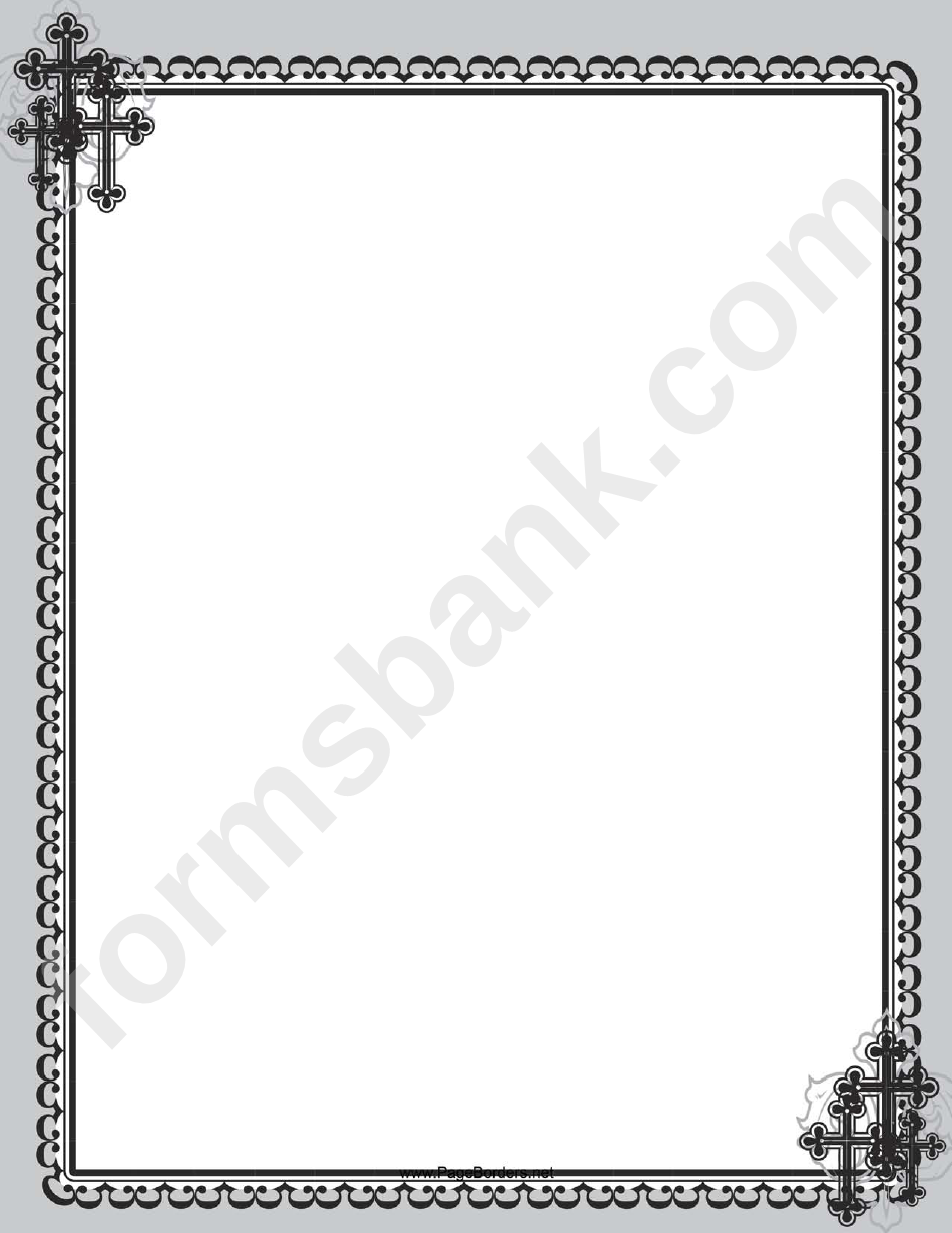 Christian Black Cross Page Border Template Printable Pdf