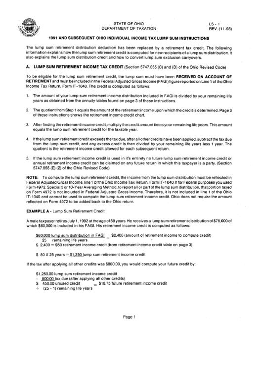 Ohio Lump Sum Distribution Credit - Fill Online, Printable