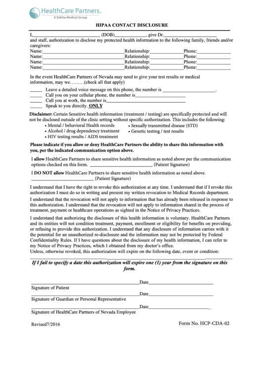 Form Hcp-cda-02 - Hipaa Contact Disclosure