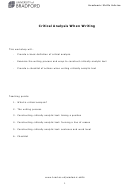 Critical Analysis When Writing Worksheet With Answers