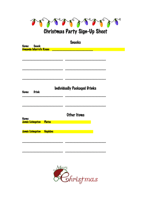 christmas party sign up sheet printable pdf download