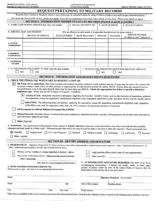Standard Form 180 Request Pertaining To Military Records Printable