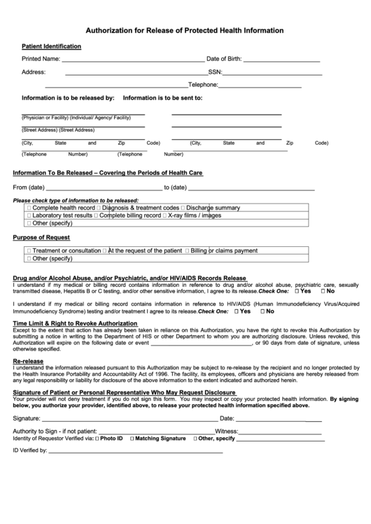Fillable Authorization For Release Of Protected Health Information Printable pdf