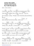 Todd Rundgren - I Saw The Light Guitar Chord Chart