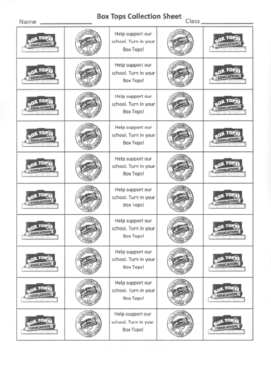box top collection sheet printable pdf download